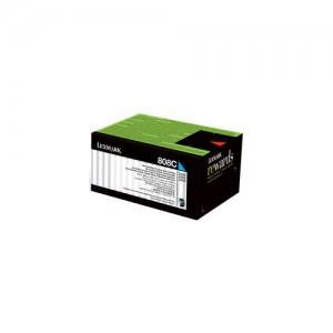 Genuine Lexmark 808M Cyan Toner - 1,000 pages