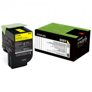 Genuine Lexmark 808M Yellow Toner - 1,000 pages