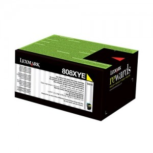Genuine Lexmark 808HY HY Yellow Toner - 3,000 pages