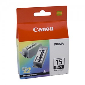 Genuine Canon BCI-15BK Black Ink Tank - 2 per pack - 150 pages each