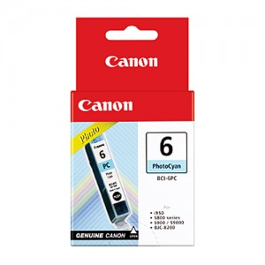 Genuine Canon BCI-6PC Photo Cyan Ink Tank - 100 pages
