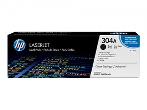 Genuine HP CC530ATWIN No.304A Black Toner Cartridge - 3,500 pages - Dual Pack
