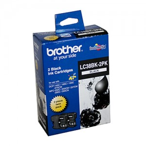 Genuine Brother LC-38BK Black Ink Cartridge - Twin pack 300 pages each