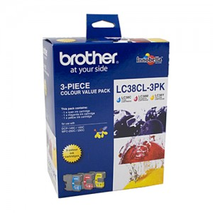 Genuine Brother LC-38CL3PK Cyan, Magenta & Yellow Colour Pack - 260 pages each