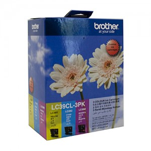 Genuine Brother LC-39CL3PK Cyan, Magenta & Yellow Colour Pack - 260 pages each