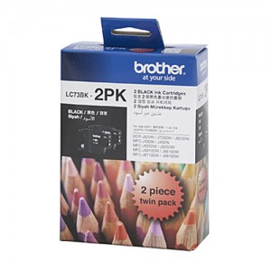 Genuine Brother LC-73BK Black Ink Cartridge Twin Pack - 600 pages each