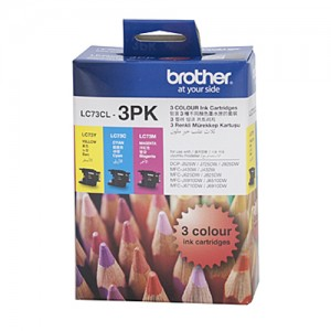 Genuine Brother LC-73 C,M,Y Ink Cartridges - 600 pages each