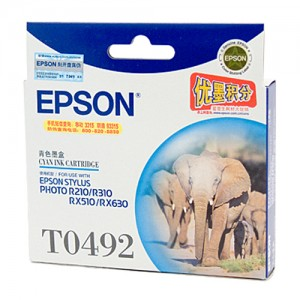 Genuine Epson T0492 Cyan Ink Cartridge -  430 pages