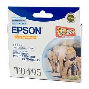 Genuine Epson T0495 Light Cyan Ink Cartridge - 430 pages