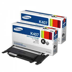 Genuine Samsung CLTK407TWIN Black Toner Cartridge Twin Pack to suit CLP-325 / CLX-3185  - 1,500 pages